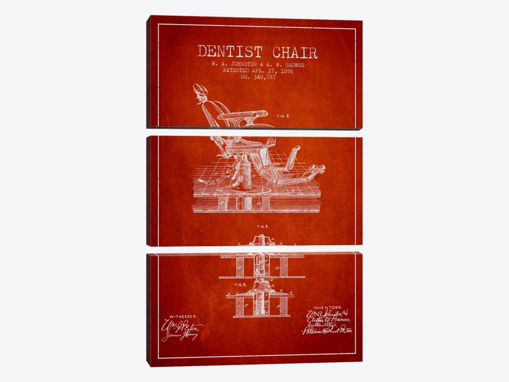 Dentist Chair Red Patent Blueprint by Aged Pixel 3-piece Canvas Art