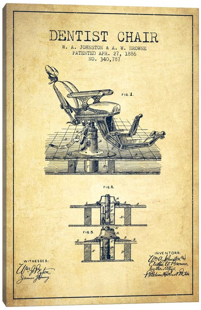 Dentist Chair Vintage Patent Blueprint Canvas Art Print