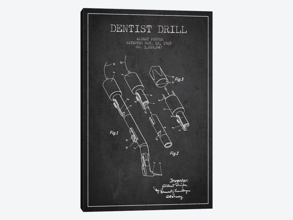 Dentist Drill Charcoal Patent Blueprint 1-piece Canvas Art