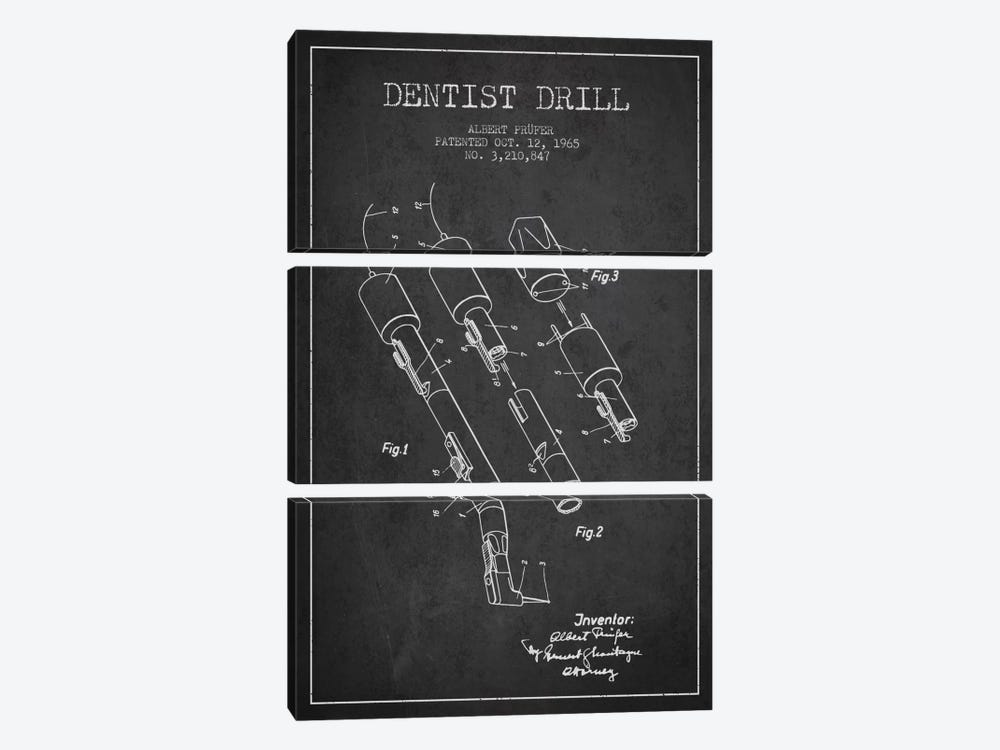 Dentist Drill Charcoal Patent Blueprint by Aged Pixel 3-piece Canvas Wall Art
