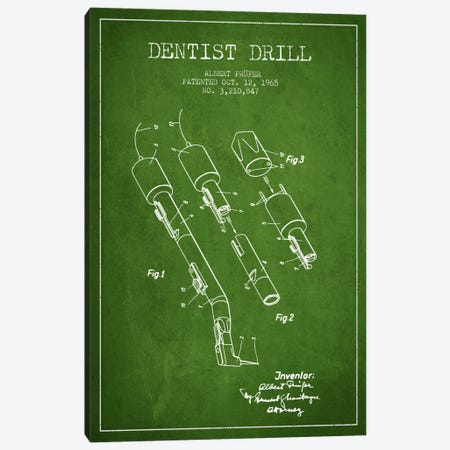 Dentist Drill Green Patent Blueprint Canvas Print #ADP1815} by Aged Pixel Canvas Art