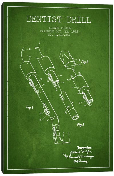 Dentist Drill Green Patent Blueprint Canvas Art Print