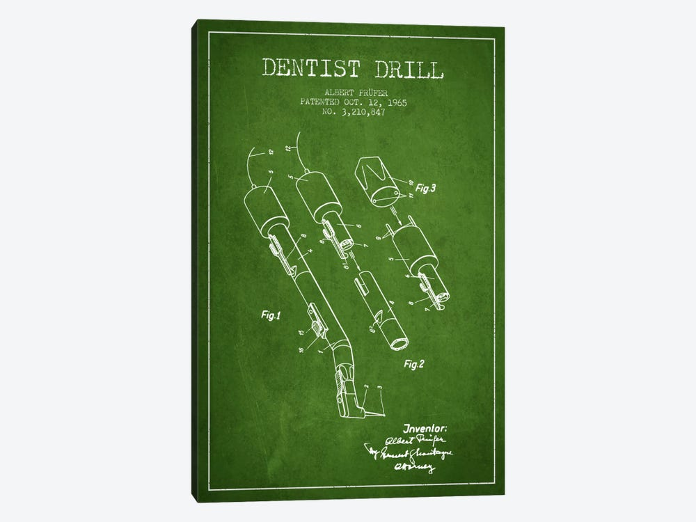 Dentist Drill Green Patent Blueprint by Aged Pixel 1-piece Canvas Art Print
