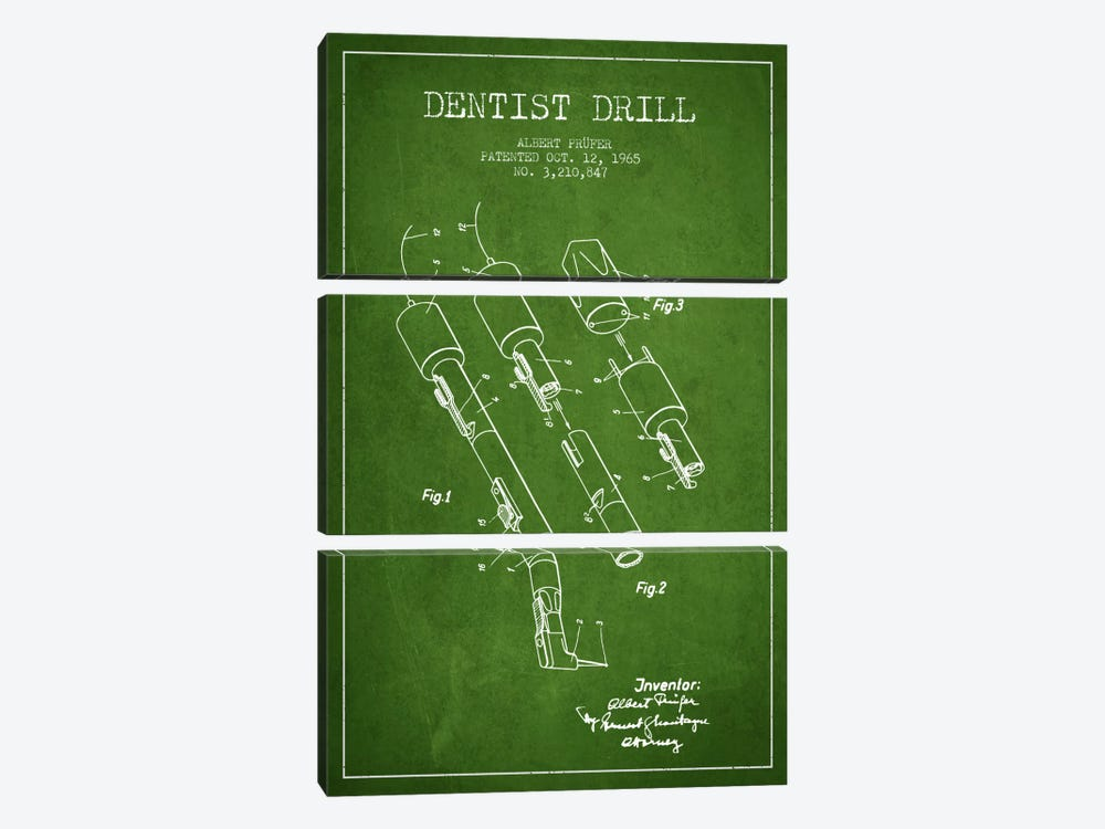 Dentist Drill Green Patent Blueprint by Aged Pixel 3-piece Art Print