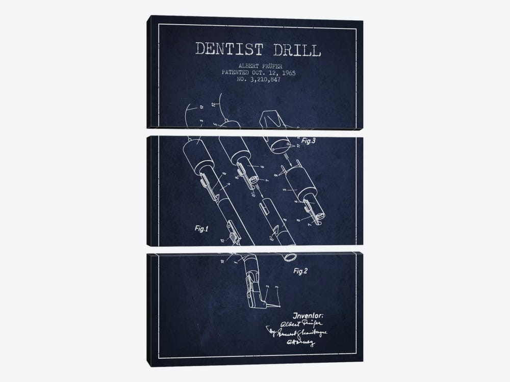 Dentist Drill Navy Blue Patent Blueprint by Aged Pixel 3-piece Canvas Artwork