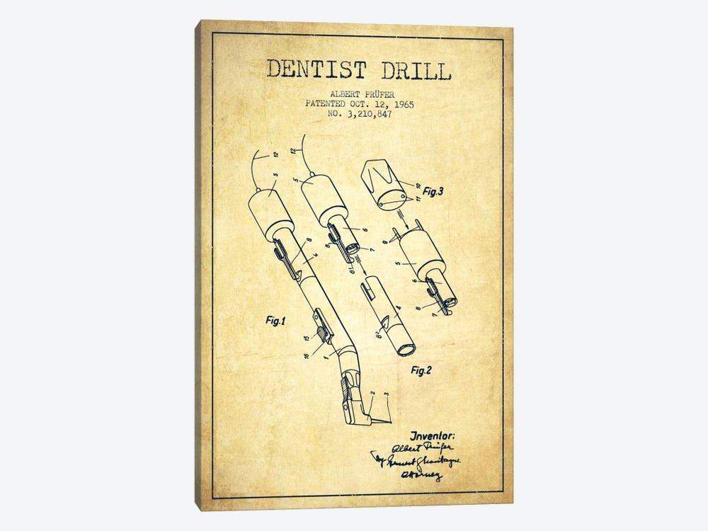 Dentist Drill Vintage Patent Blueprint by Aged Pixel 1-piece Canvas Art