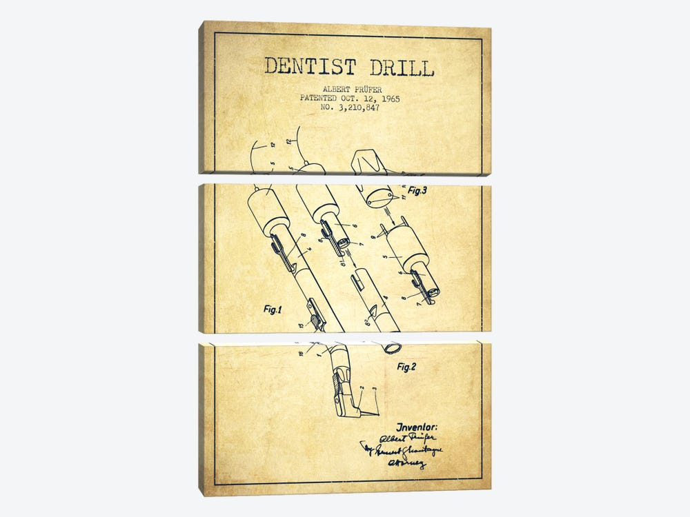 Dentist Drill Vintage Patent Blueprint by Aged Pixel 3-piece Canvas Artwork