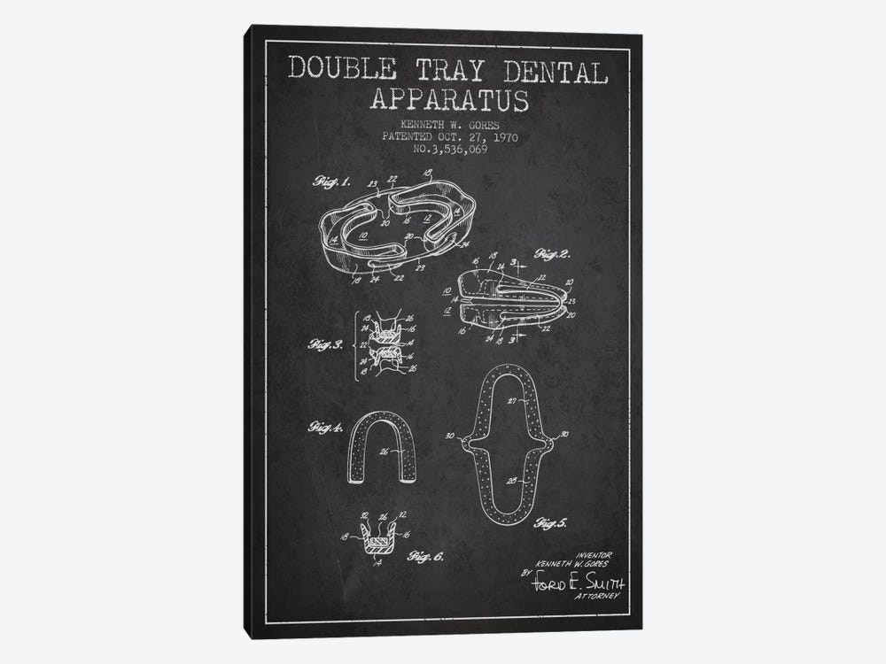 Double Tray Charcoal Patent Blueprint by Aged Pixel 1-piece Canvas Art Print