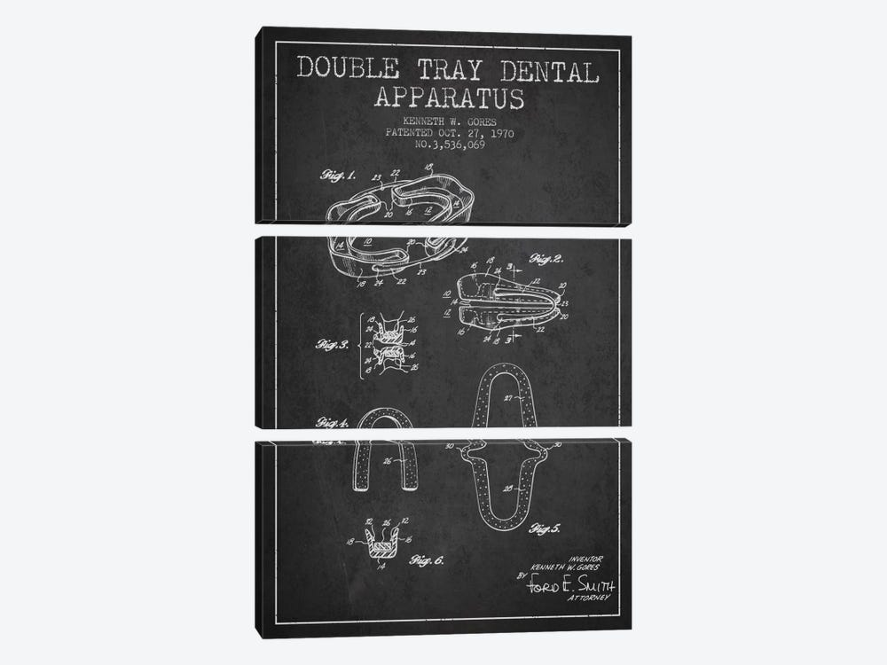 Double Tray Charcoal Patent Blueprint by Aged Pixel 3-piece Canvas Art Print