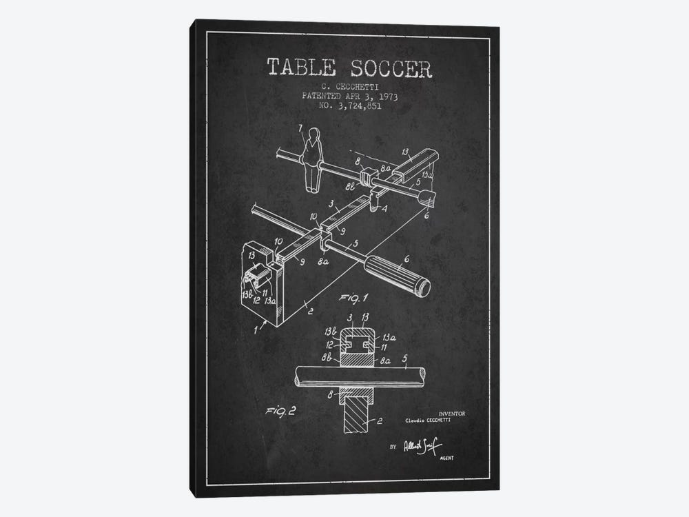 Table Soccer Charcoal Patent Blueprint by Aged Pixel 1-piece Art Print