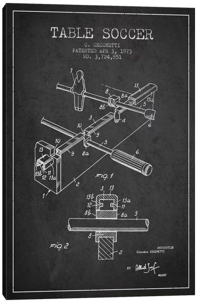 Table Soccer Charcoal Patent Blueprint Canvas Art Print