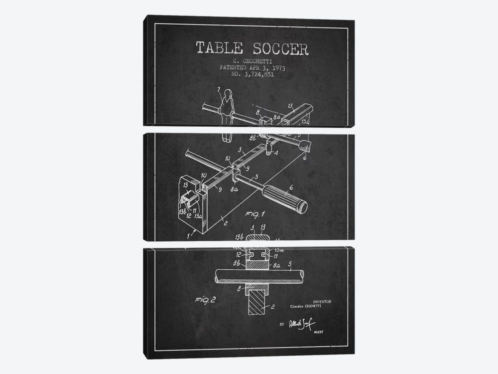 Table Soccer Charcoal Patent Blueprint by Aged Pixel 3-piece Canvas Print
