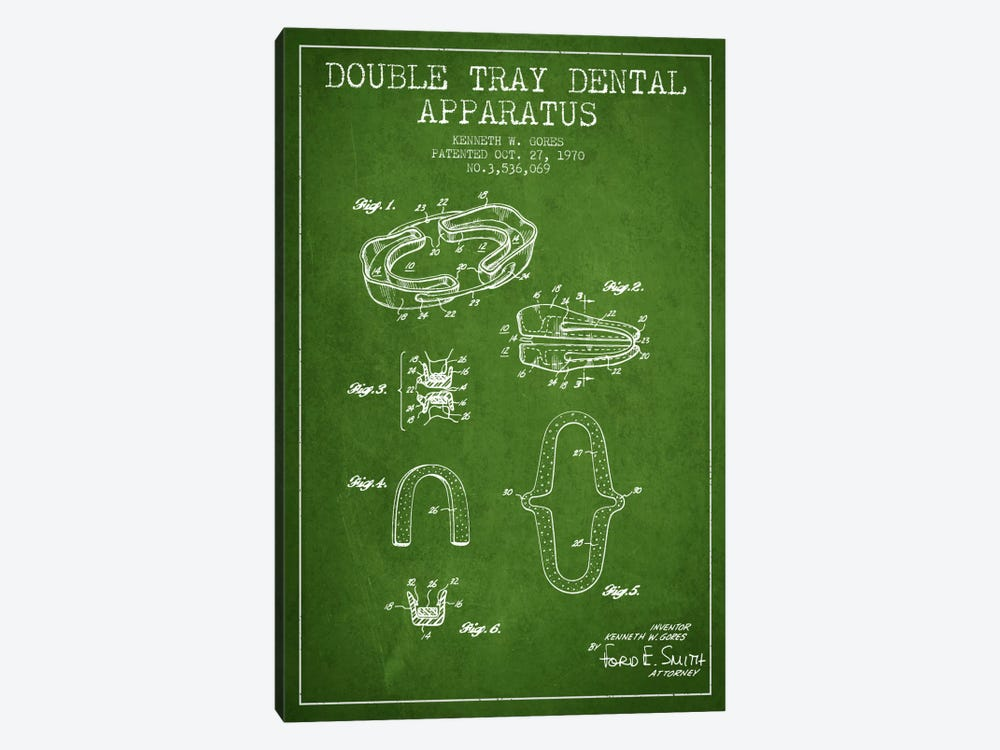 Double Tray Green Patent Blueprint by Aged Pixel 1-piece Canvas Art Print