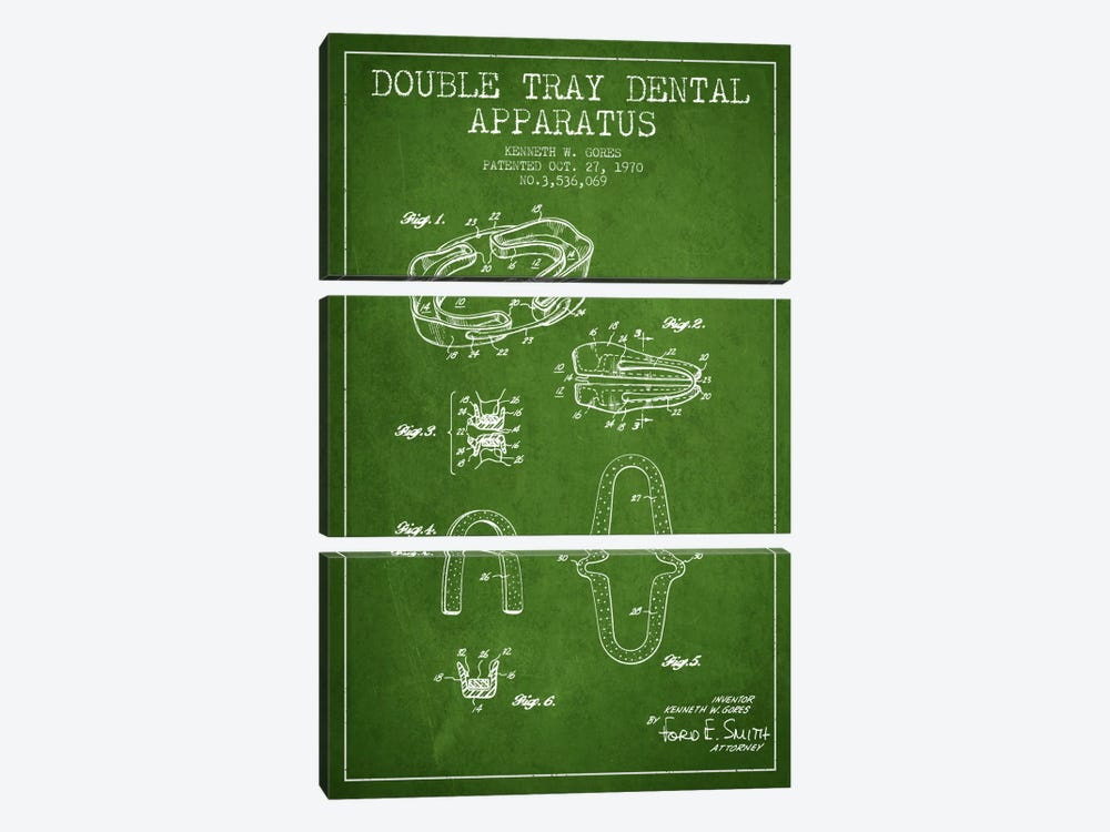 Double Tray Green Patent Blueprint by Aged Pixel 3-piece Canvas Print