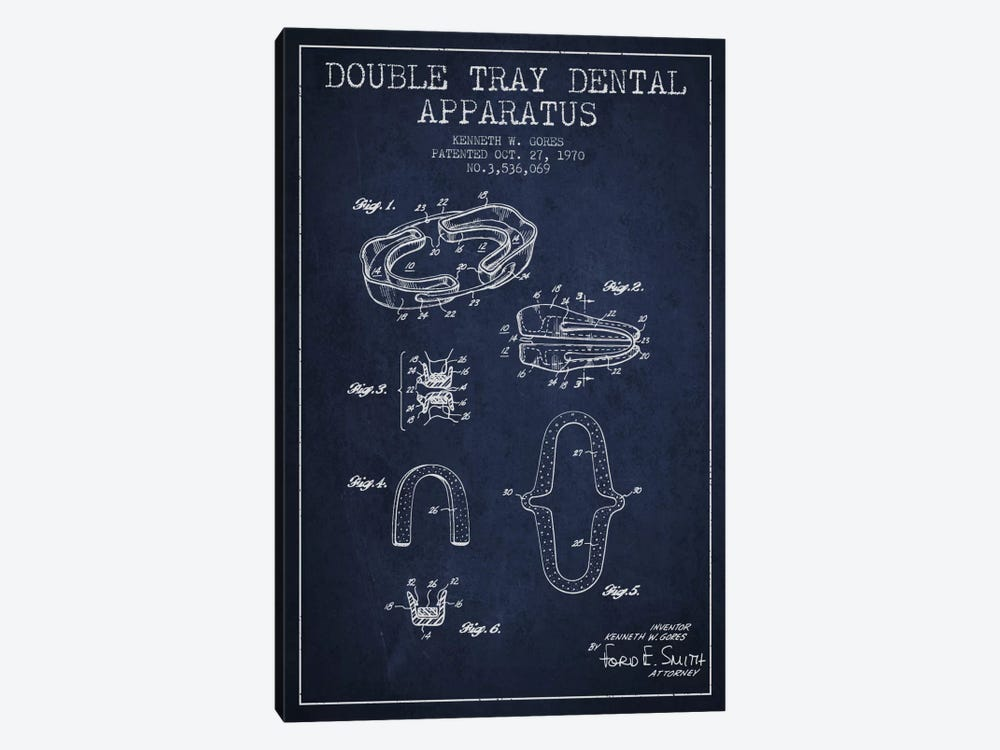 Double Tray Navy Blue Patent Blueprint by Aged Pixel 1-piece Canvas Artwork