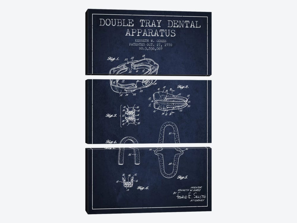 Double Tray Navy Blue Patent Blueprint by Aged Pixel 3-piece Canvas Wall Art