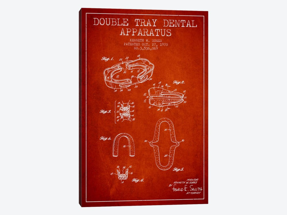 Double Tray Red Patent Blueprint by Aged Pixel 1-piece Canvas Art Print