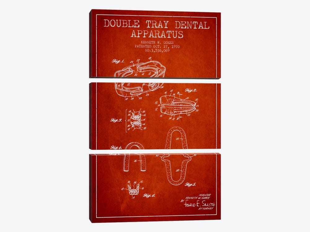Double Tray Red Patent Blueprint by Aged Pixel 3-piece Canvas Print