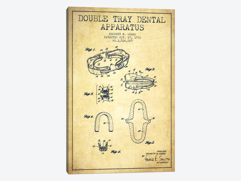 Double Tray Vintage Patent Blueprint by Aged Pixel 1-piece Canvas Art