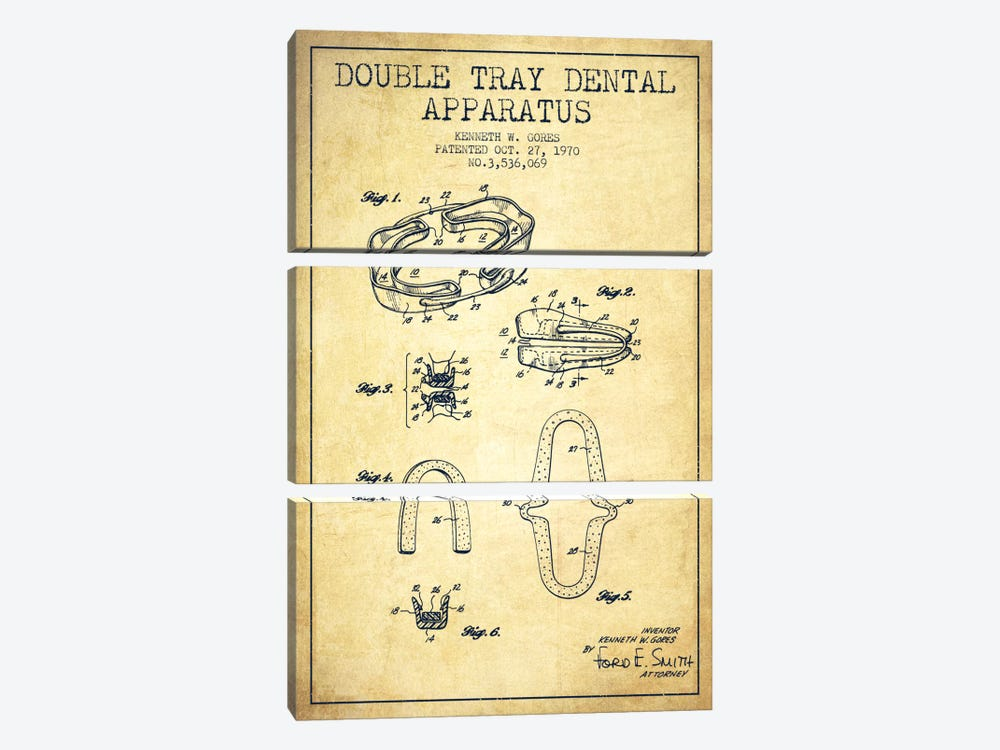 Double Tray Vintage Patent Blueprint by Aged Pixel 3-piece Canvas Artwork