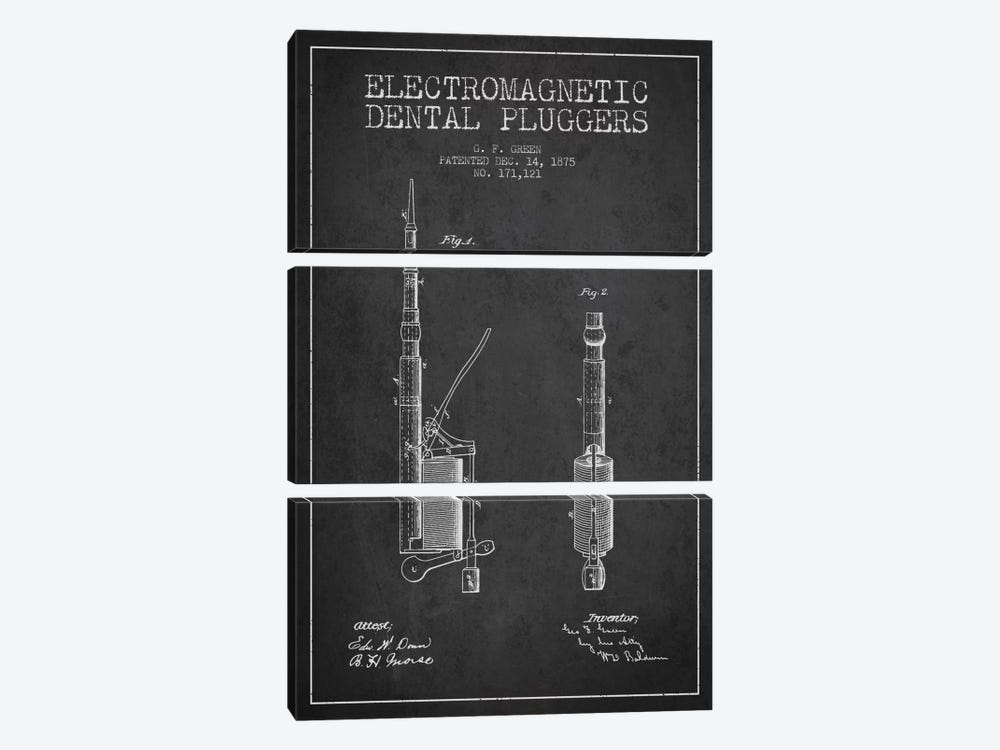 Electromagnetic Dental Pluggers Charcoal Patent Blueprint by Aged Pixel 3-piece Art Print