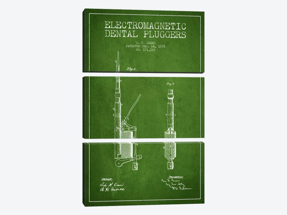 Electromagnetic Dental Pluggers Green Patent Blueprint by Aged Pixel 3-piece Canvas Artwork