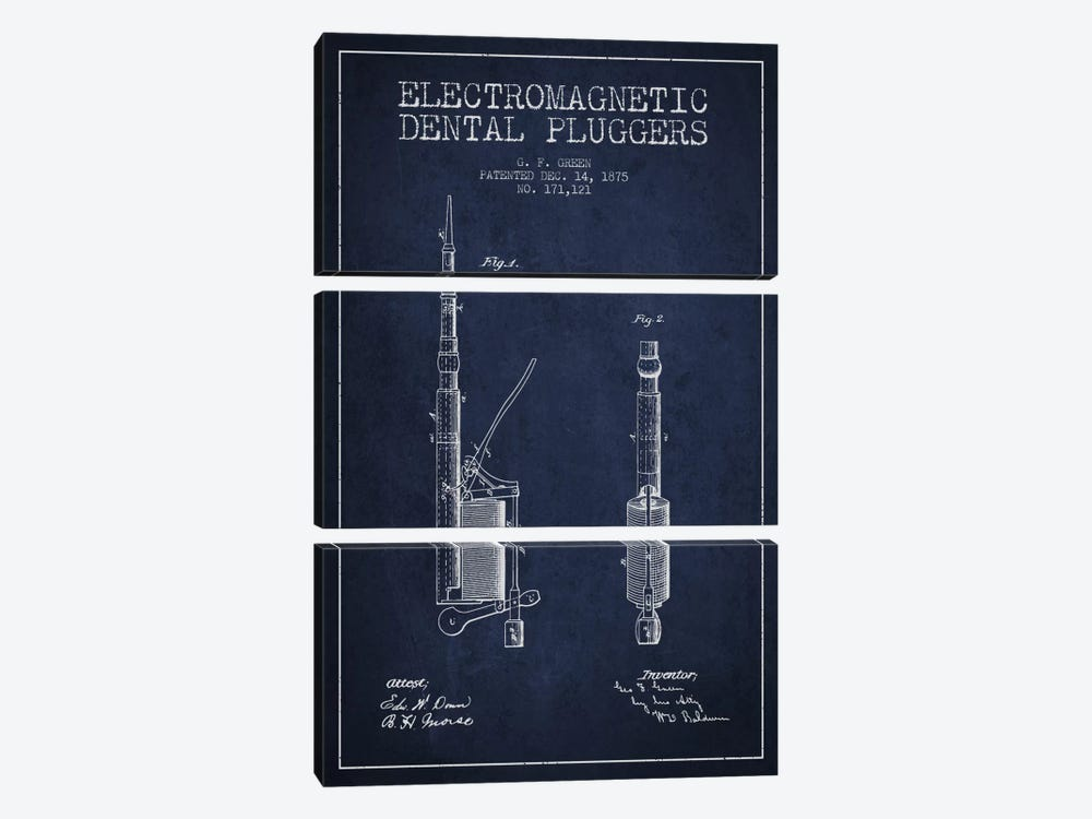 Electromagnetic Dental Pluggers Navy Blue Patent Blueprint by Aged Pixel 3-piece Art Print