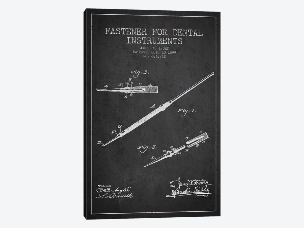 Fastener Dental Instruments Charcoal Patent Blueprint by Aged Pixel 1-piece Canvas Art