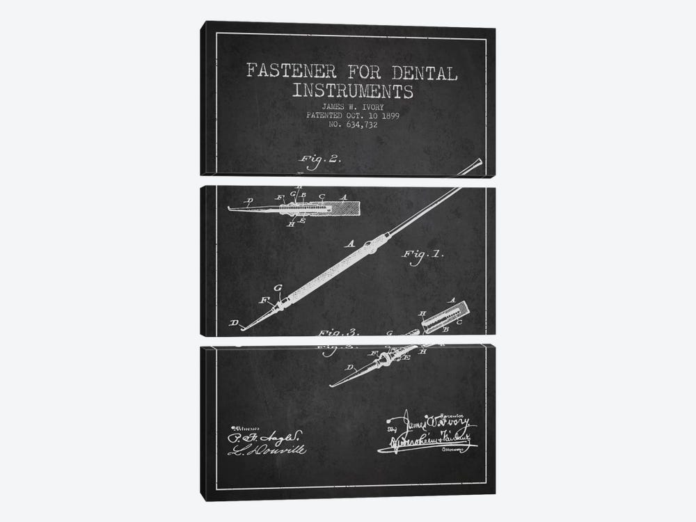 Fastener Dental Instruments Charcoal Patent Blueprint by Aged Pixel 3-piece Canvas Art