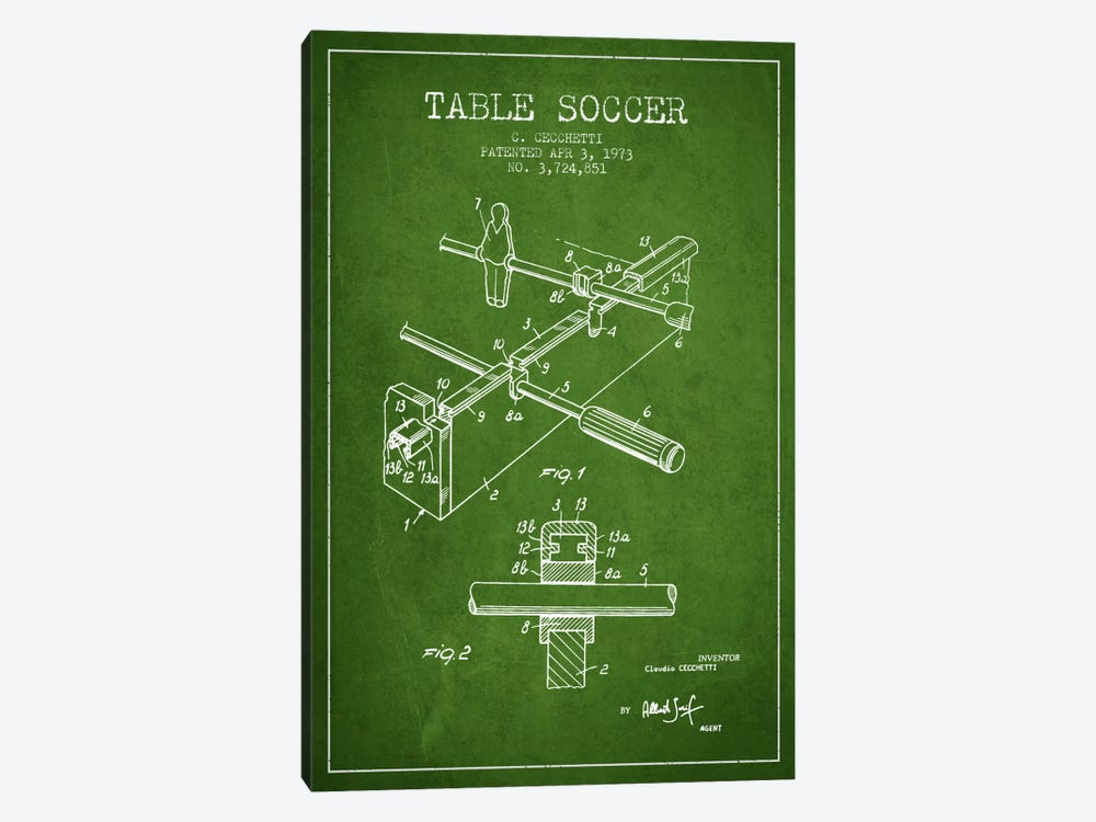 Table Soccer Green Patent Blueprint 1-piece Canvas Artwork
