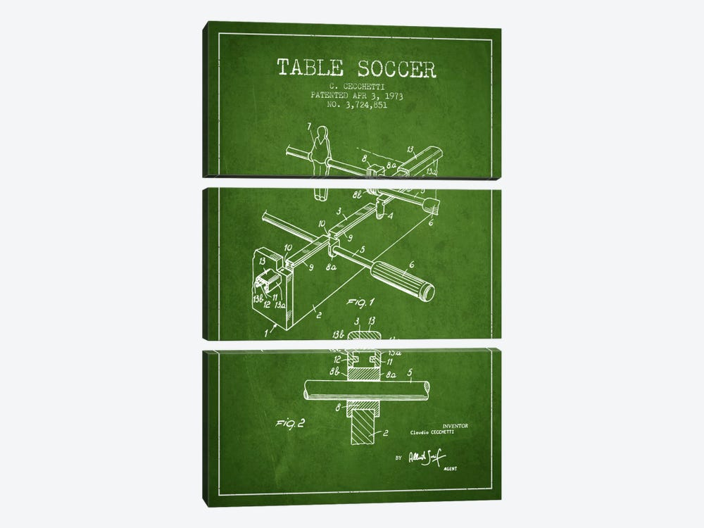 Table Soccer Green Patent Blueprint by Aged Pixel 3-piece Canvas Artwork