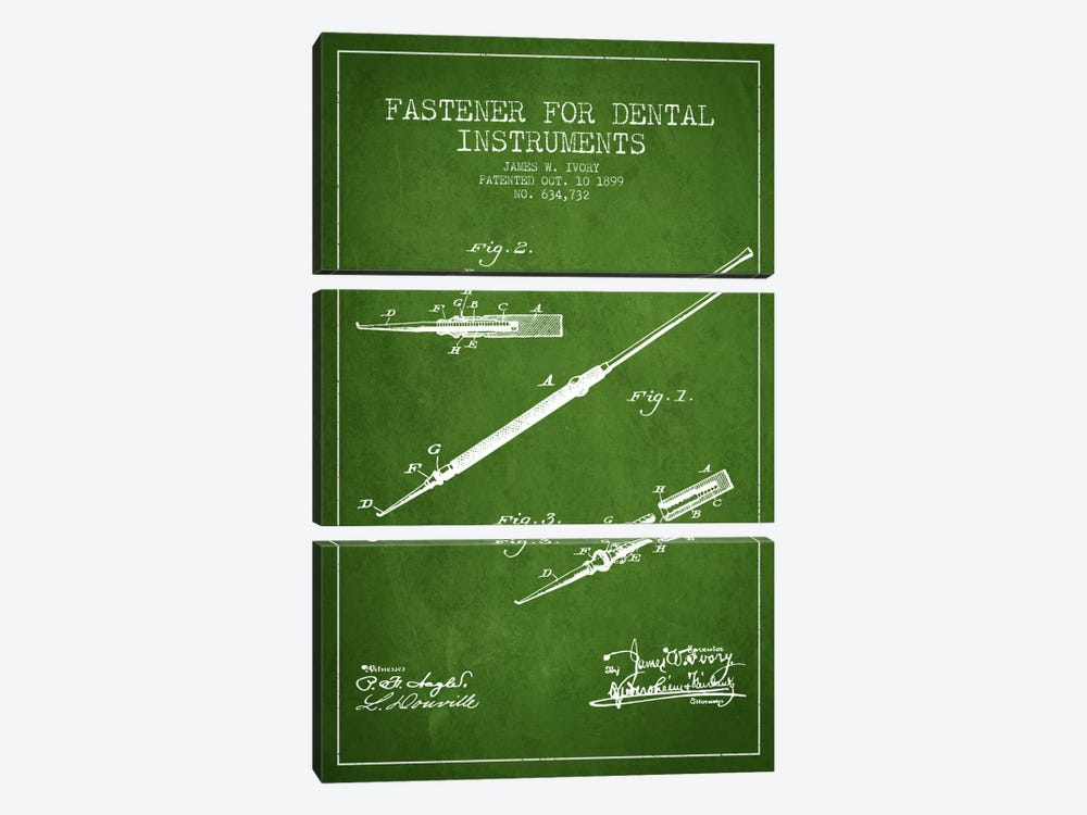 Fastener Dental Instruments Green Patent Blueprint by Aged Pixel 3-piece Canvas Art