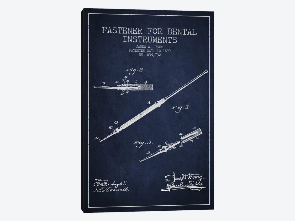 Fastener Dental Instruments Navy Blue Patent Blueprint by Aged Pixel 1-piece Art Print