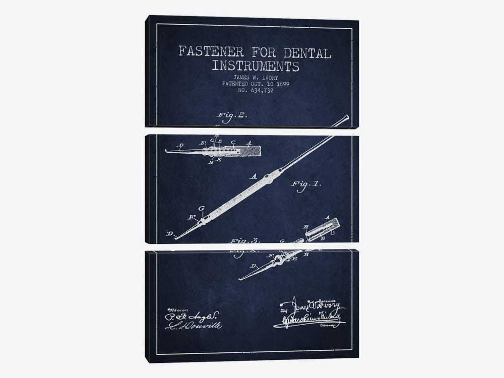 Fastener Dental Instruments Navy Blue Patent Blueprint by Aged Pixel 3-piece Art Print