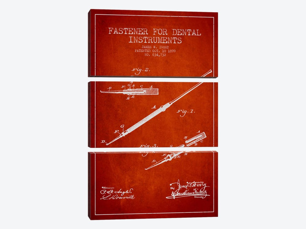 Fastener Dental Instruments Red Patent Blueprint by Aged Pixel 3-piece Canvas Artwork