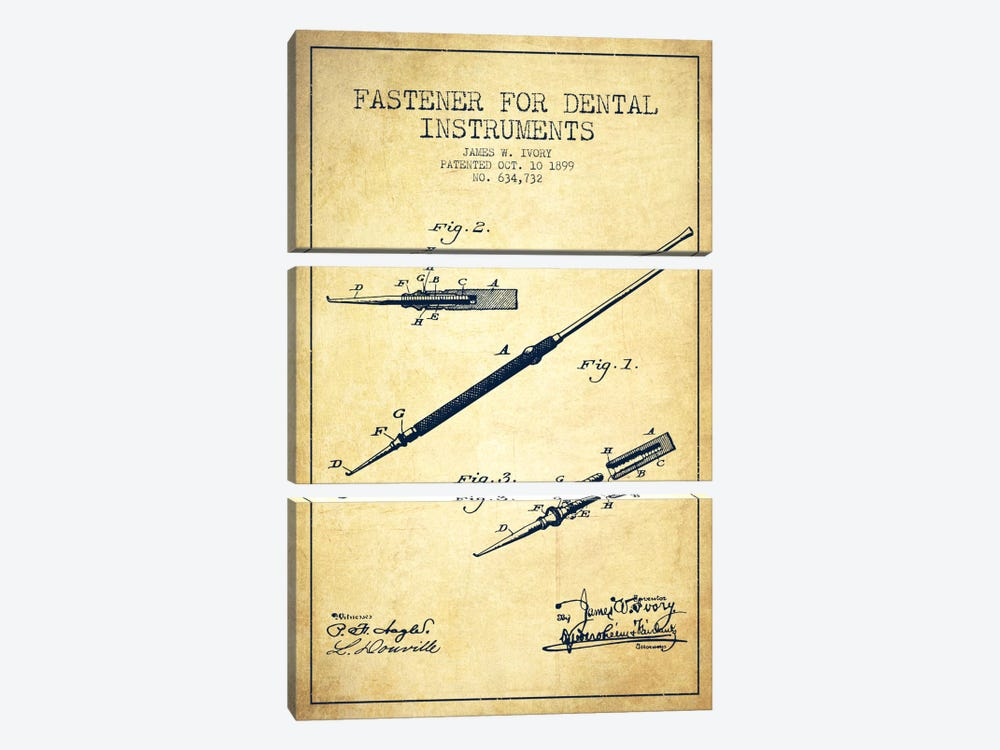 Fastener Dental Instruments Vintage Patent Blueprint by Aged Pixel 3-piece Art Print