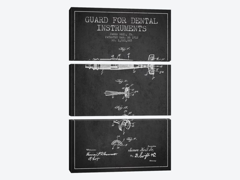 Guard Dental Instruments Charcoal Patent Blueprint 3-piece Canvas Wall Art
