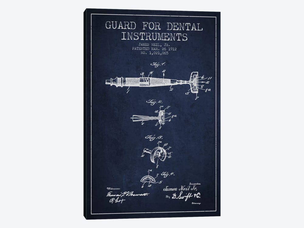 Guard Dental Instruments Navy Blue Patent Blueprint by Aged Pixel 1-piece Canvas Artwork