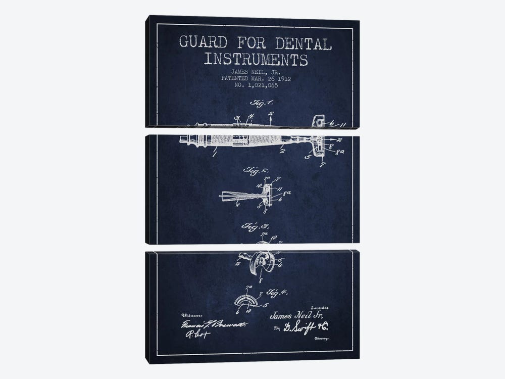 Guard Dental Instruments Navy Blue Patent Blueprint by Aged Pixel 3-piece Canvas Artwork