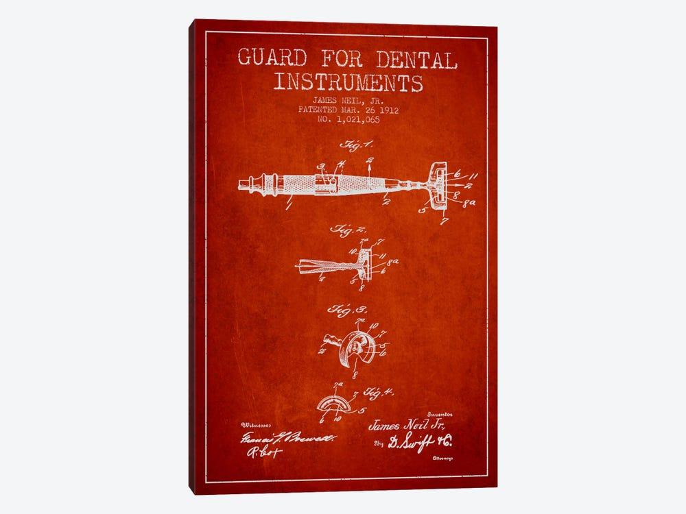 Guard Dental Instruments Red Patent Blueprint by Aged Pixel 1-piece Canvas Print