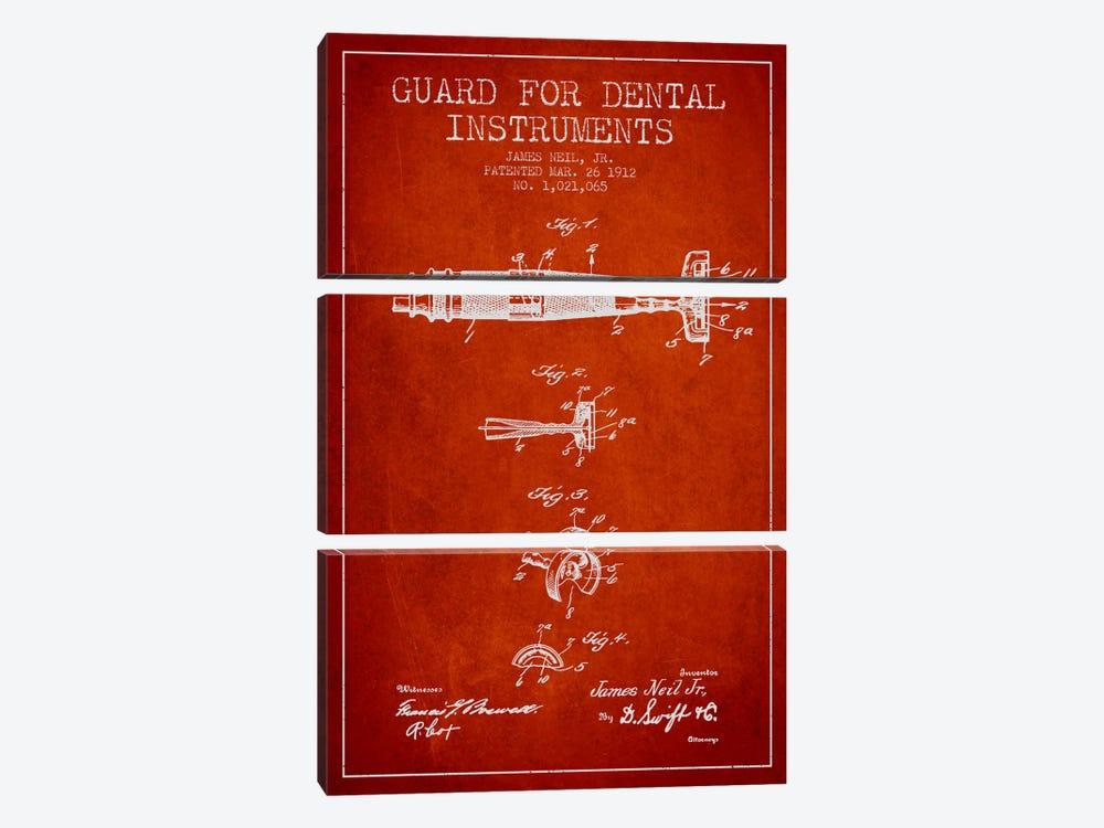 Guard Dental Instruments Red Patent Blueprint by Aged Pixel 3-piece Art Print