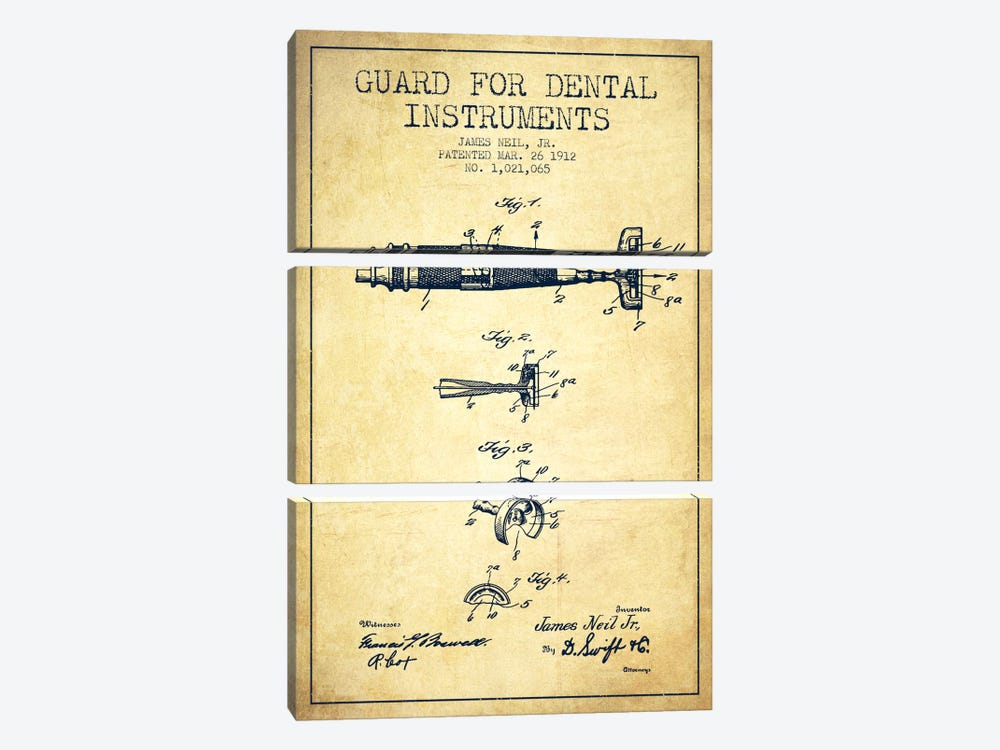 Guard Dental Instruments Vintage Patent Blueprint by Aged Pixel 3-piece Canvas Art