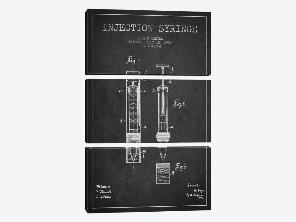 Injection Syringe Charcoal Patent Blueprint by Aged Pixel 3-piece Art Print