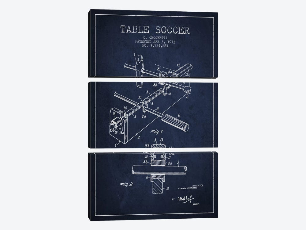 Table Soccer Navy Blue Patent Blueprint by Aged Pixel 3-piece Canvas Art Print