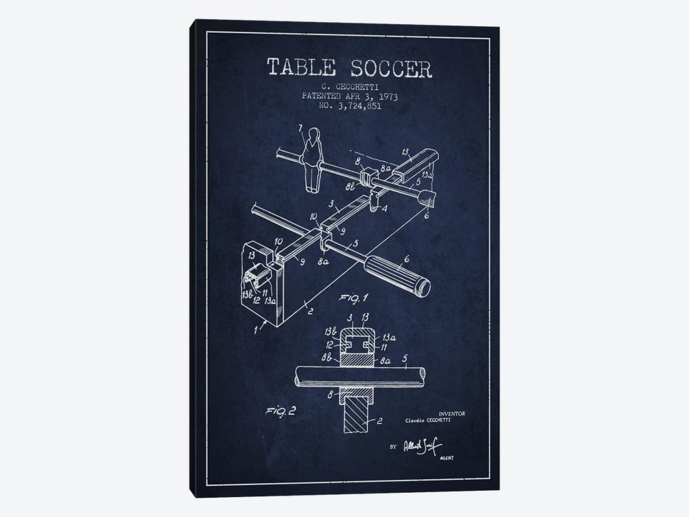 Table Soccer Navy Blue Patent Blueprint by Aged Pixel 1-piece Art Print