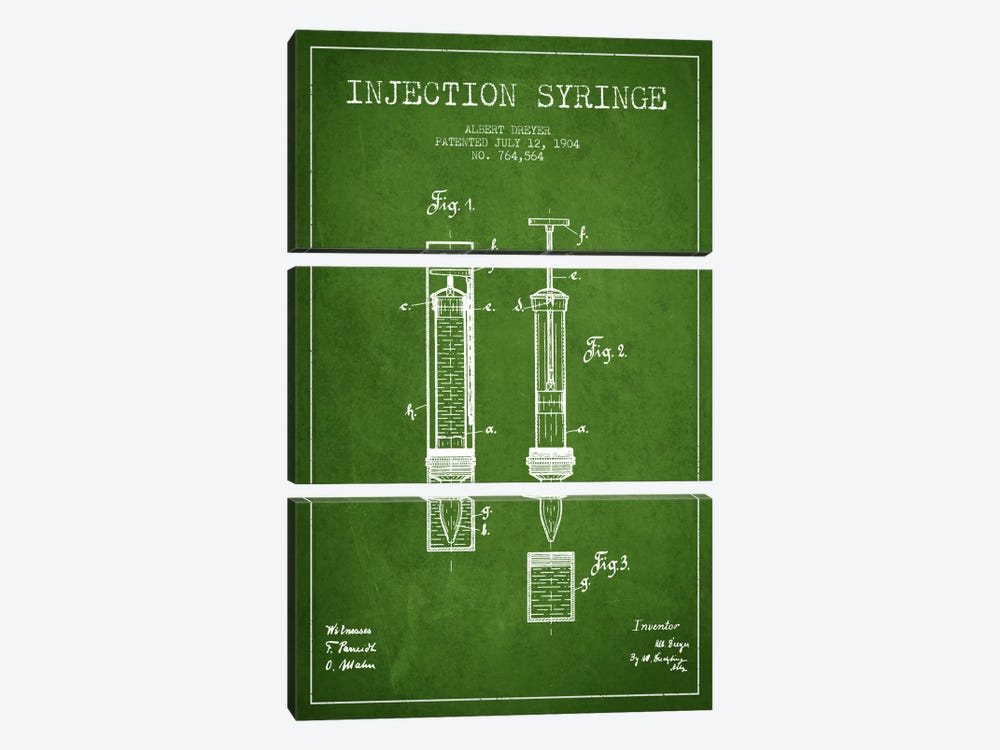 Injection Syringe Green Patent Blueprint by Aged Pixel 3-piece Canvas Print