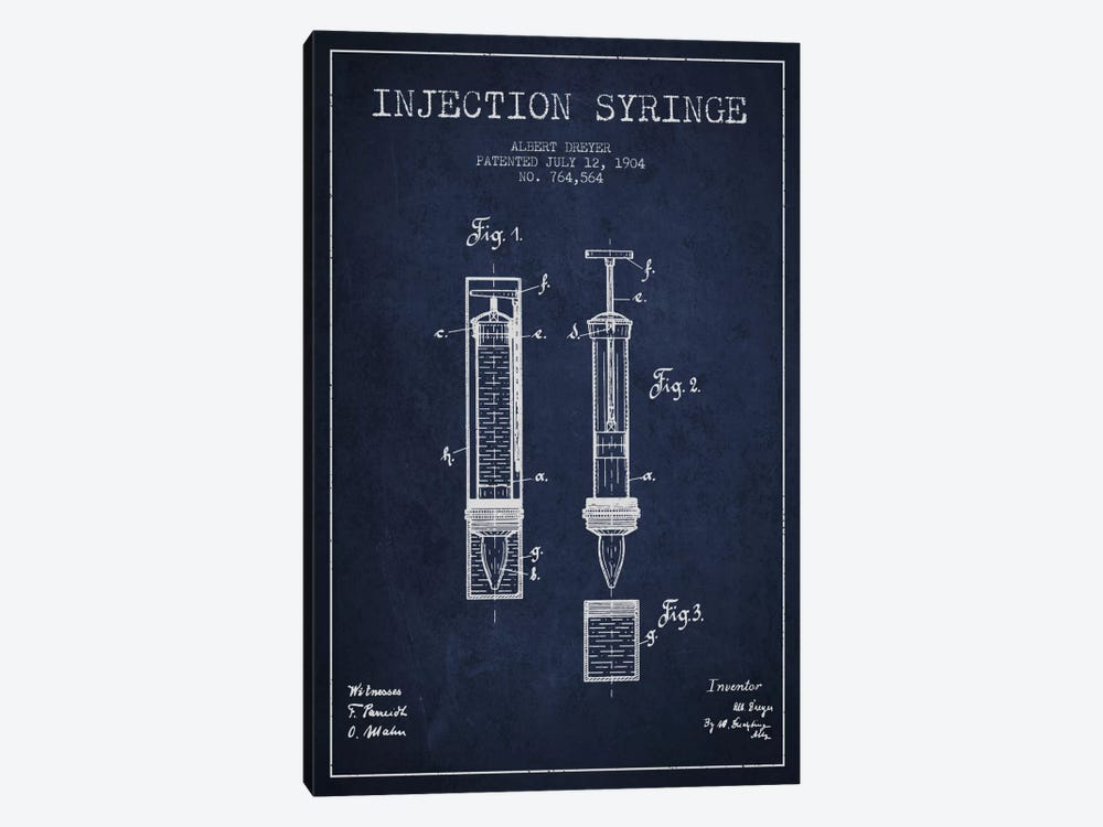 Injection Syringe Navy Blue Patent Blueprint by Aged Pixel 1-piece Canvas Art