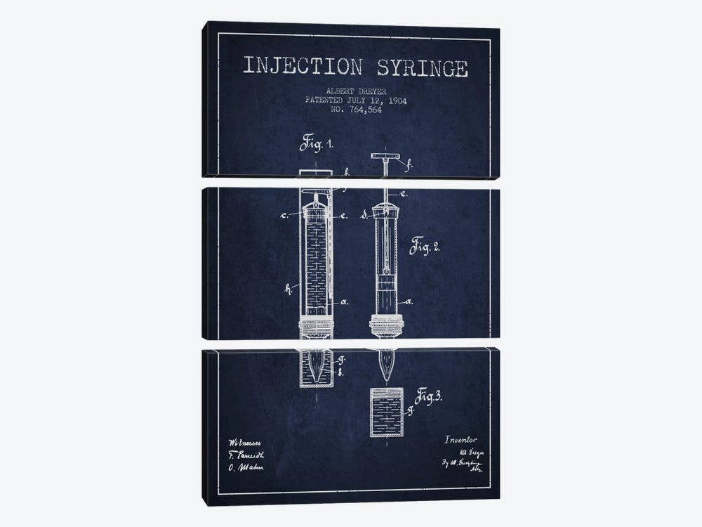 Injection Syringe Navy Blue Patent Blueprint by Aged Pixel 3-piece Canvas Artwork