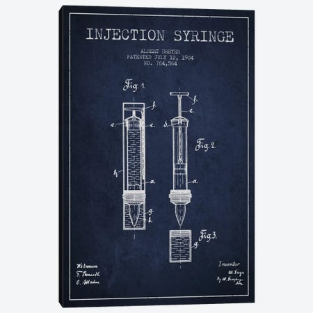 Injection Syringe Navy Blue Patent Blueprint Canvas Print #ADP1841} by Aged Pixel Canvas Artwork