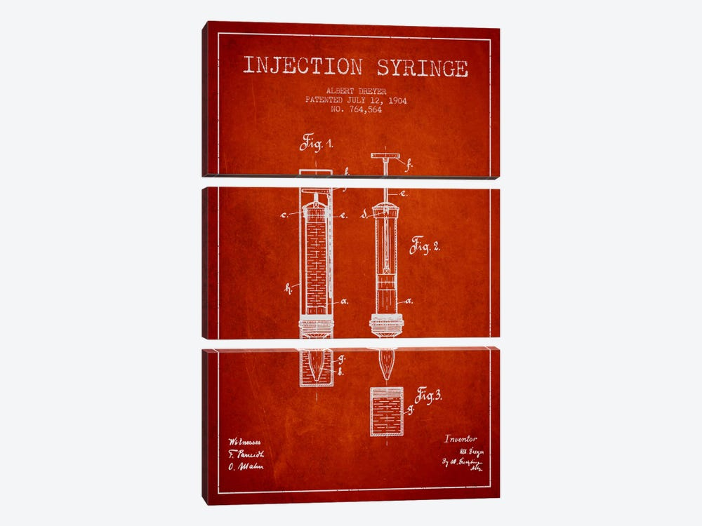 Injection Syringe Red Patent Blueprint by Aged Pixel 3-piece Art Print